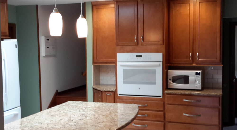 Matching cabinets and eye level oven