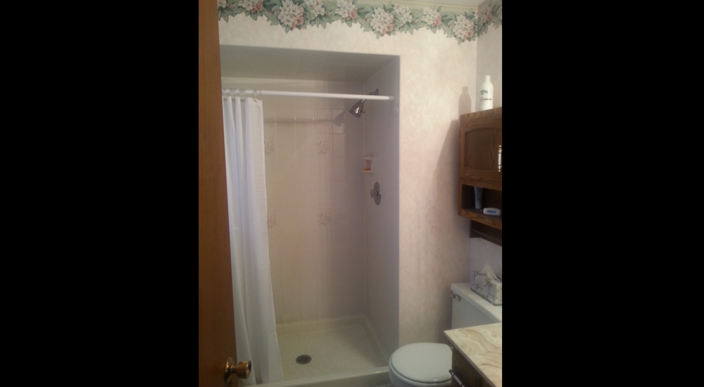 Bordered bathroom and old fashioned walk in shower