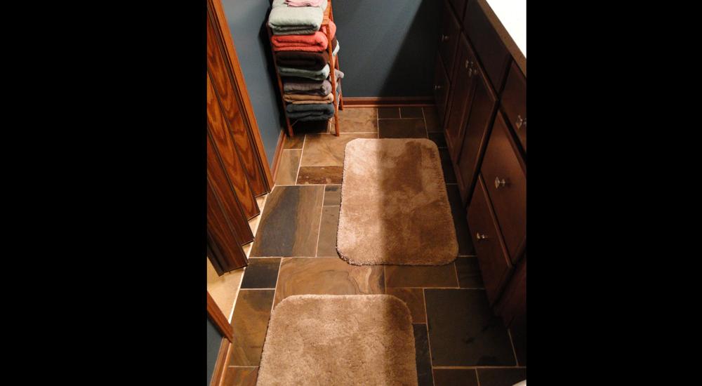 Slate flooring ties colors together