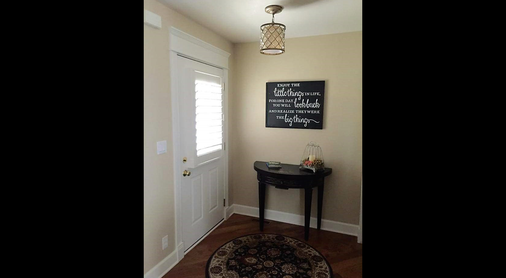 New entry offers square corners for a welcoming entryway