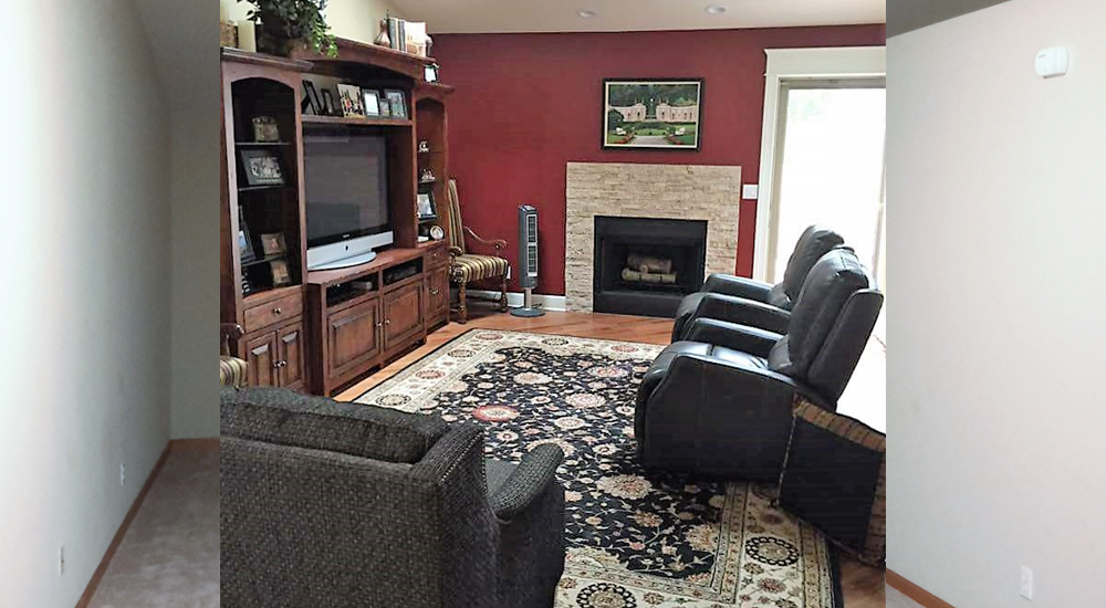 Surround added to emphasize and add interest to fireplace