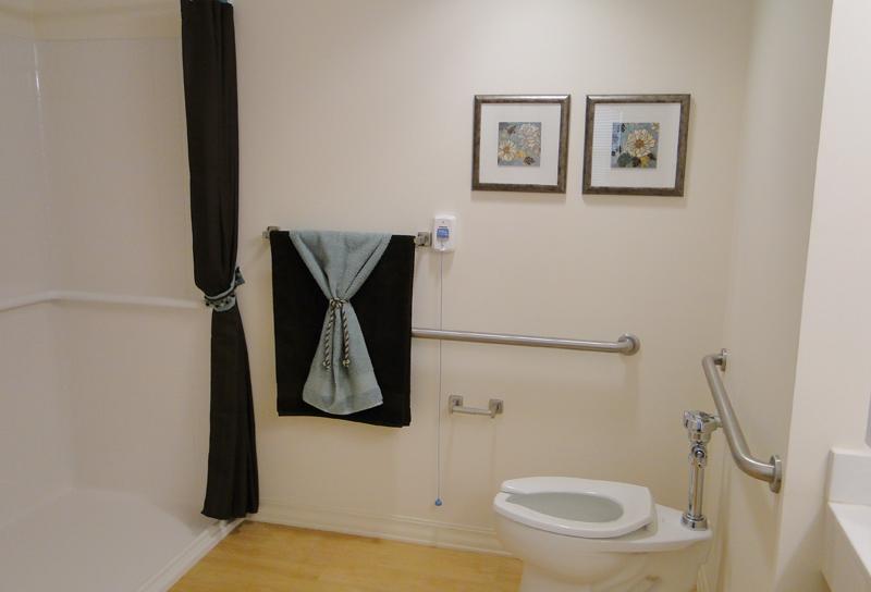 Towels complement bathroom