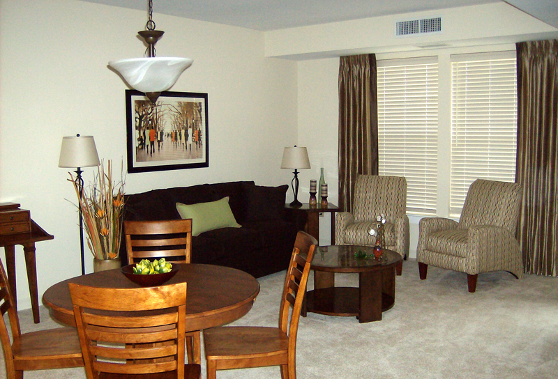 Guest suites have ample living and dining spaces